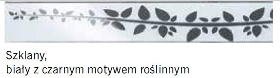 szklany biały z czarnym motywem roślinnym